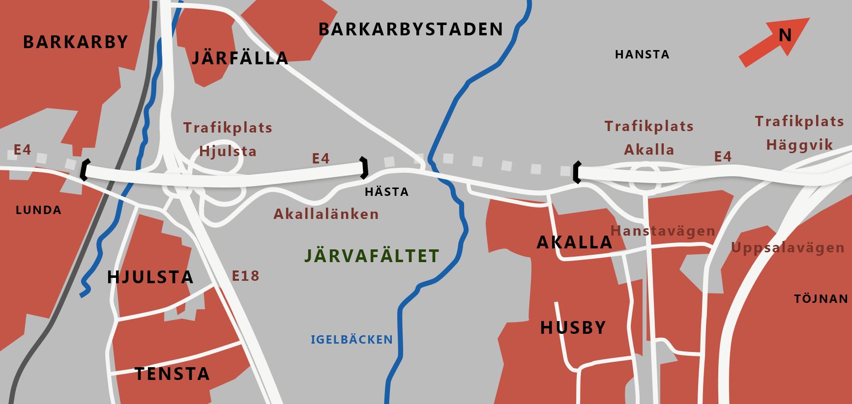 Karta över Förbifart Stockholms dragning över Järvafaltet